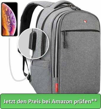 all4way Laptop Rucksack Herren Damen Grau - RFID Schutz Anti Theft Backpack - Swiss Design Rucksack wasserdicht Regenschutz - USB Rucksack für Business Schule Freizeit - Jetzt den Preis bei Amazon prüfen**