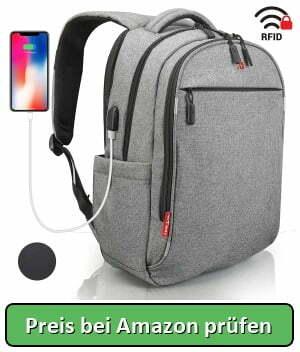 832385f86c893 Laptop Rucksack Grau - RFID Schutz - Preis bei Amazon prüfen