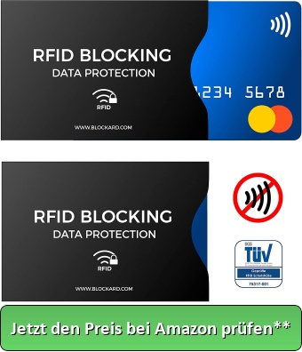 TÜV geprüfte RFID Blocking NFC Schutzhüllen (12 Stück) für Kreditkarte, Personalausweis, EC-Karte, Reisepass, Bankkarte, Ausweis - 100% Schutz gegen unerlaubtes Auslesen - Kreditkarten RFID Blocker - Jetzt den Preis bei Amazon prüfen**
